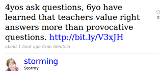 4yos ask questions, 6yo have learned that teachers value right answers more than provocative questions